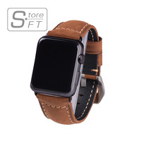Classical Genuine Crazy Horse Brown Leather Watch Band for Apple Watch I Watch 38mm&42mm Black Adaptor