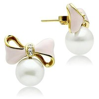 Gold Lust Synthetic Pearl Bow Stud Earrings from Wicked Jaded