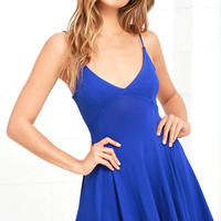 Poetry in Motion Royal Blue Skater Dress