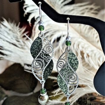 Artisan Crafted Sterling Silver Brass Glass Crystal Green Gold Dangle Earrings
