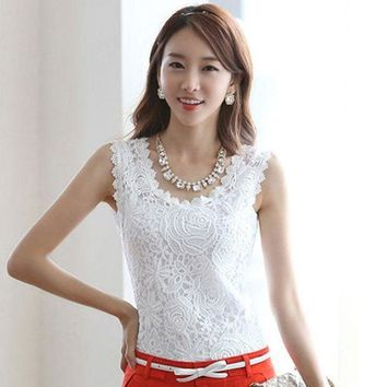 2014 Women Tops Lace Vest Sleeveless Satin Blouse Tank Casual Tank Tops Bustier Crochet Fitness Sexy Halter  Xxxl