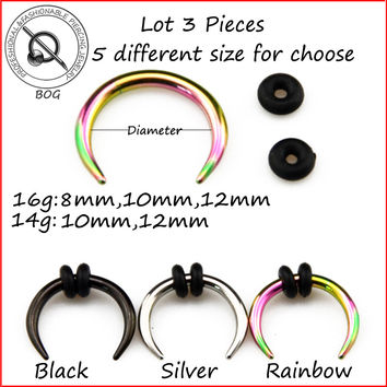 BOG-Lot 3 Pcs Sugical Steel Black Silver Rainbow Hoop Pincher Round Tapered Septum Nose Ring Ear Taper Piercing  Earring 14g 16g