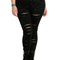 Tripp Black Splatter Denim Jeans Plus