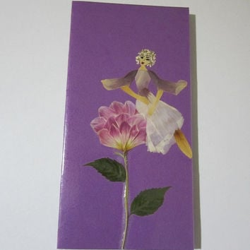"Handmade unique greeting card ""It is important to have a good view"" - Decorated with dried pressed flowers and herbs - Original art collage."