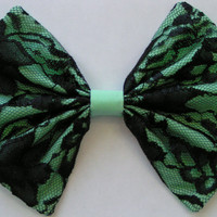 Mint and Black Lace fabric Bow barrette for teens and women,french barrette, hair bows bow hair clip big bow hair clip