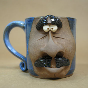 Pottery face mug - blue ceramic mug - Gift for coworker - Mustache mug - Novelty face mug - 15 ounce mug - Blue dad mug - Ceramic face mug
