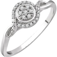 10K White Gold 1/10 CTW Diamond Multi Stone Halo Twist Style Promise Ring