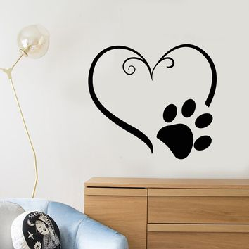 Vinyl Wall Decal Heart Symbol Animal Foot Print Paw Pet Stickers (2361ig)