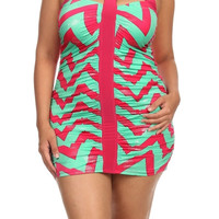 Zig Zag Glitter Bodycon Dress - Fuchsia - Plus Size