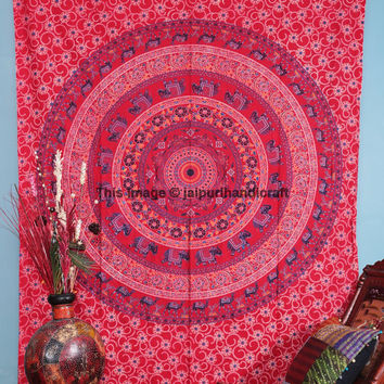 Indian Mandala Print Pure Cotton, Wall Décor Tapestry, Table Runner Home Décor India, Elephant Mandala Tapestry, Camel Mandala Tapestry