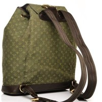 Auth Louis Vuitton Monogram Montsouris GM Khaki Backpack Bag Pre-Owned SP0024