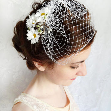 mini birdcage veil, white wedge wedding veil, small bird cage bridal veil - SERENITY - bridal hair accessories