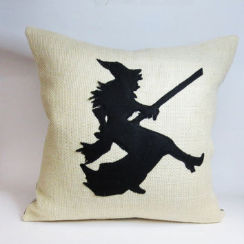 Burlap Pillow Cover with Felt Witch Silhouette Applique - Halloween Pillow Decor -