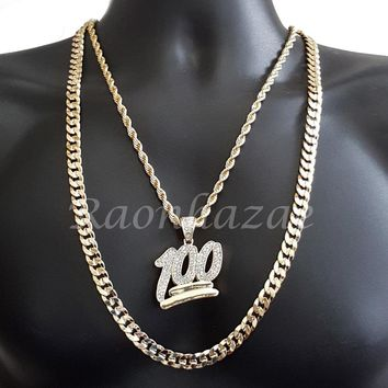 "ICED OUT BLING 100 CHARM ROPE CHAIN DIAMOND CUT 30"" CUBAN CHAIN NECKLACE SET G32"
