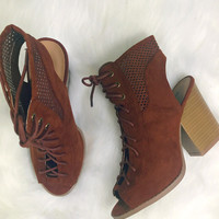 Falling For You Whiskey Lace Up Booties