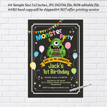 Little Monster Birthday invitation, monster party 1st 2nd 3rd 4th 5th 6th 7th 8th 9th 10th  kids birthday invitation chalkboard  - card 1044
