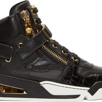 Black Leather Gold Zip High-Top Sneakers