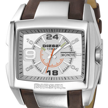 Diesel Mens Silver Dial Brown Leather Bracelet Watch DZ1273
