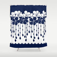 Hibiscus Neg Positive: Navy Shower Curtain by Eileen Paulino
