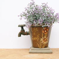 Pail With A Spout. Green Metal Pail On Pedestal Hand Painted Flower Pail Country Home Decor Life Is Good