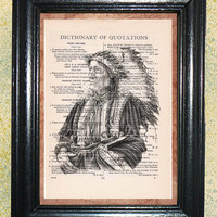 Old Indian Chief Art Print - Vintage Dictionary Page Art Print, Upcycled Book Page Art, Collage Print, Beautiful Illustration, Wall Art