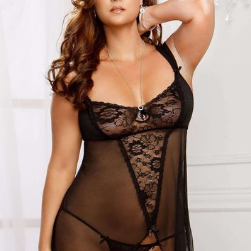 iCollection Lingerie Plus size Lace And Mesh Babydoll With Adjustable Mesh Straps