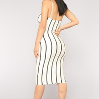 Twerkin' And Workin' Stripe Dress - White