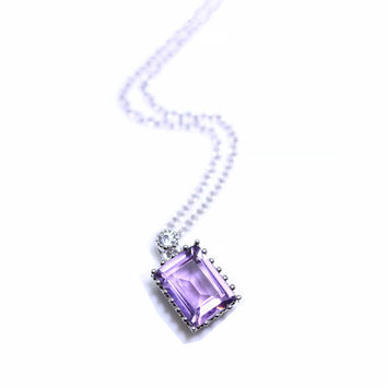 Stunning Amethyst Pendant Necklace, Purple Quartz, Emerald Cut Gemstone, 925 Sterling Silver, February Birthstone