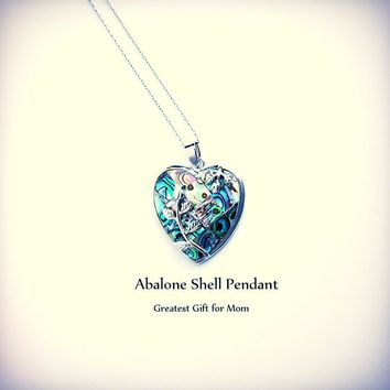 Exquisite Rose Wrapped Heart Shaped Paua Abalone Shell ~Pendant Necklace Peacock Jewelry