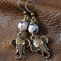 Tribal Elephant and Dalmatian Jasper Gemstone Dangle Earrings - Handmade Power Animal Charm Jewellry