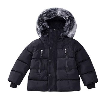 Baby Girl Boy Winter Cotton Plus velvet thick Hooded Coat Jacket Thick Warm Zipper Outwear Girls Clothes winter 2017 drop ship