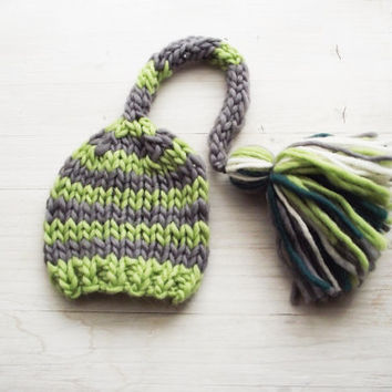 RTS Green Knit Baby Hat, Newborn Photo prop, Fairy Hat, Elf Hat, Pixie Hat Tassel Hat, Baby Knitted Hat, Stripes hat green