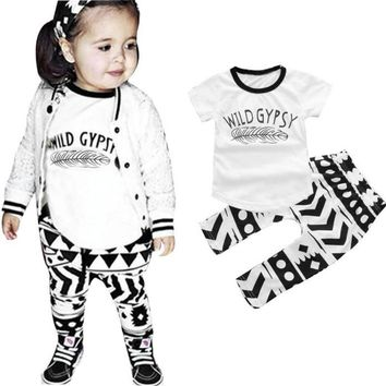 Toddler Baby Girl Feather Print Cotton Tops+Pants