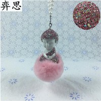 lady car rearview Pendant Colorful Buddha car decorative pendant Lovely hair ball Buddha Decoration of automobile ornaments