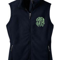 Monogrammed Navy Blue Fleece Vest