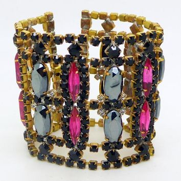Czech Glass Husar D Pink and Black Rhinestone Wide Bracelet