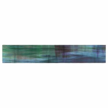 """Ebi Emporium """"COLOR BLUR, TURQUOISE BLUE"""" Blue Green Abstract Modern Watercolor Mixed Media Table Runner"""