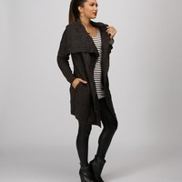 Sale-charcoal Chunky Knit Cardigan