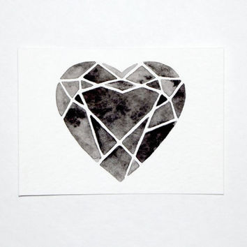 ACEO - Original Watercolor - Cutting Diamonds Heart
