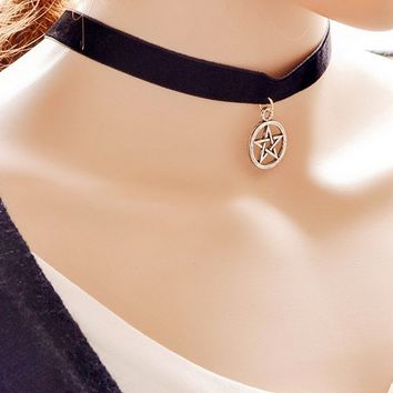 Casual Pentagram Velvet Choker Necklace