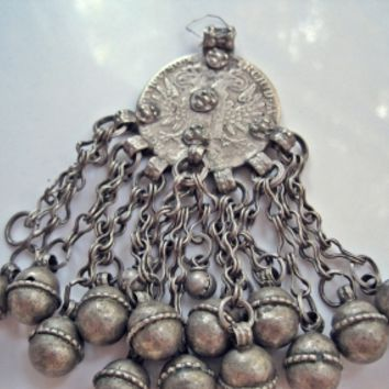 Antique Maria Theresa Thaler Silver Coin Bedouin Pendant from the Arabian Peninsula