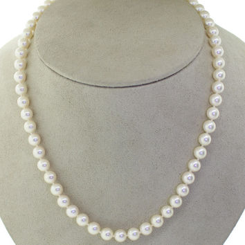 Mikimoto 18k Yellow Gold Clasp 7mm Strand 58 Akoya Cultured Pearls Necklace