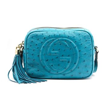 GUCCI Soho Disco Crossbody Limited Edition Blue Ostrich Leather Bag