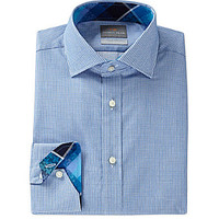 Thomas Dean Big & Tall Long-Sleeve Basketweave Woven Shirt - Blue