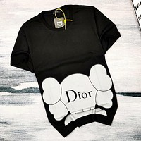 DIOR x KAWS co-branded new big ear doll doll letter short-sleeved T-shirt Black