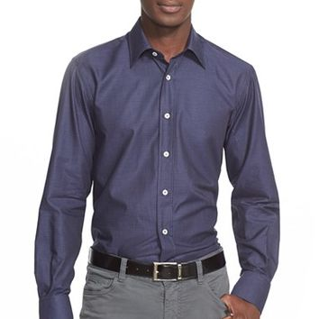 Men's Canali Regular Fit Houndstooth Sport Shirt,