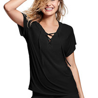 Super Soft Lace-Up V-Neck Tee - PINK - Victoria's Secret