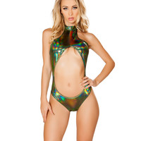 Green Holographic Cutout Rave Bodysuit