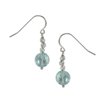 Sterling Silver Blue Topaz Bead Drop Earrings