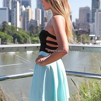TRIPLE ELASTIC DRESS Blue,CUT OUT,BACKLESS,STRAPLESS